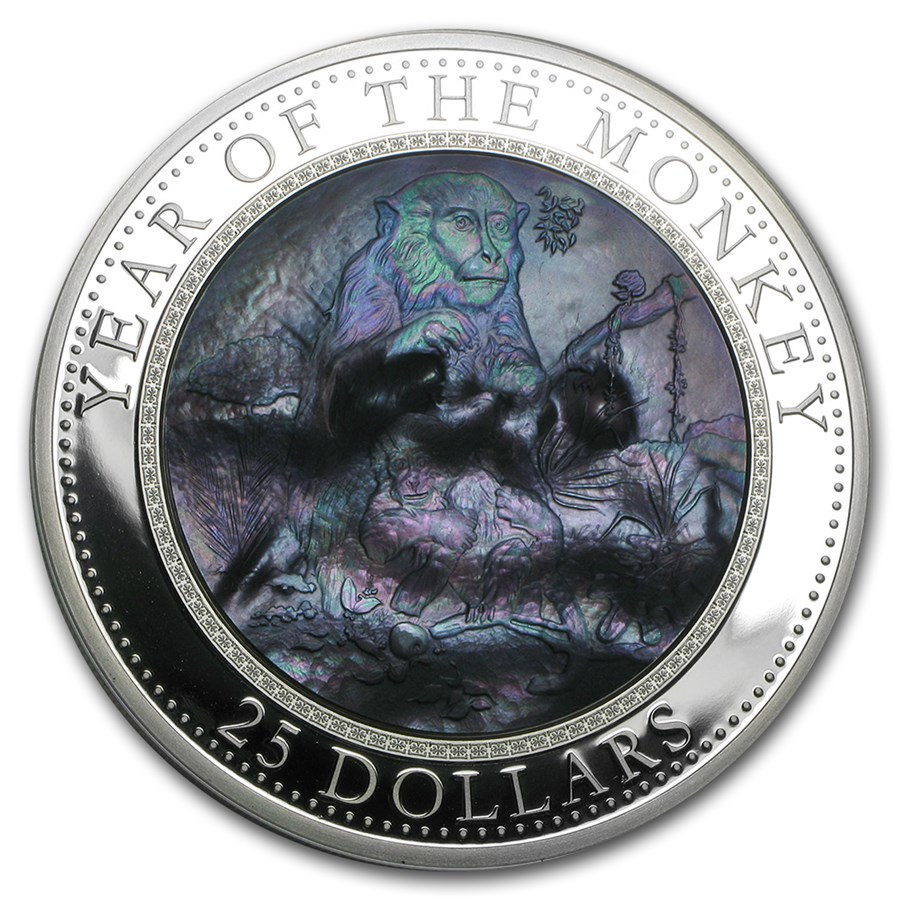 2016 Cook Islands 5 oz Silver Mother of Pearl Year of the Monkey