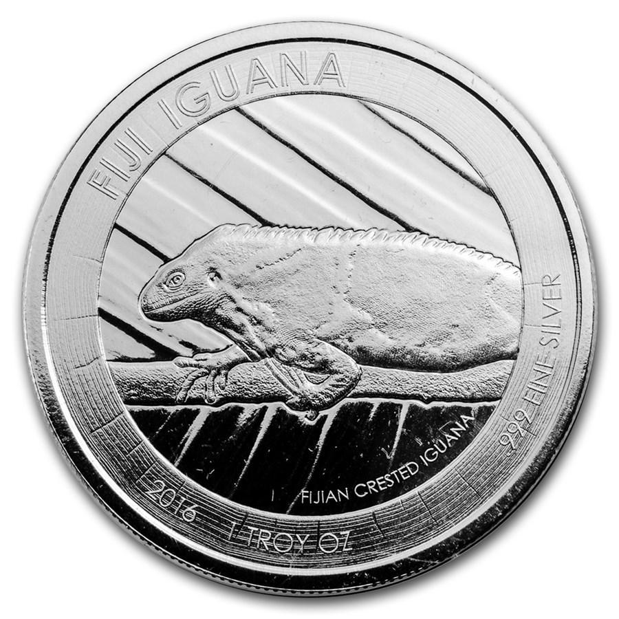 2016 Fiji $1 Silver Iguana BU (Abrasions)