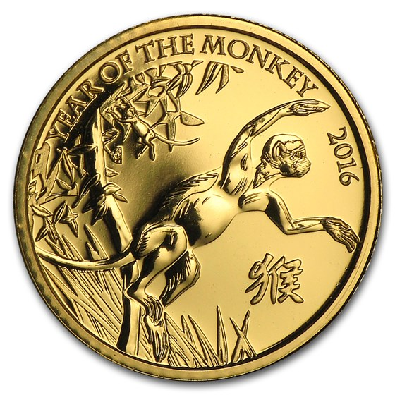 2016 GB 1/10 oz Gold Year of the Monkey BU (w/Box & COA)