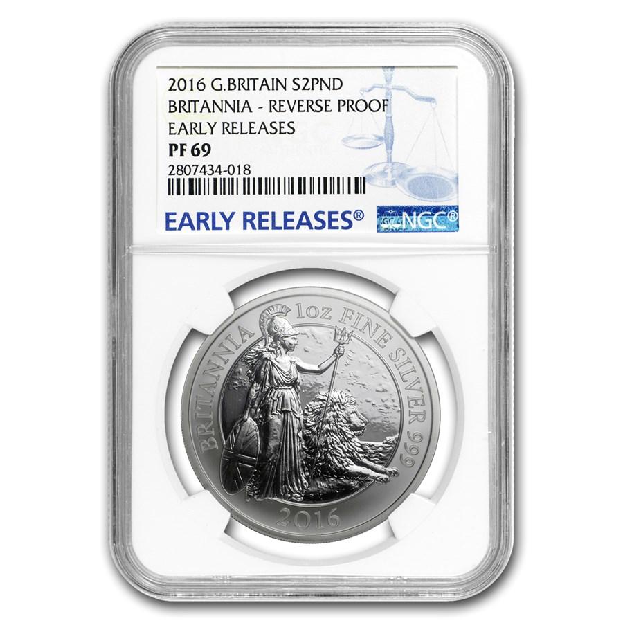 2016 GB 1 oz Reverse Proof Silver Britannia PF-69 NGC (ER)