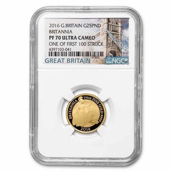 2016 Great Britain 1/4 oz Gold Britannia PF-70 NGC