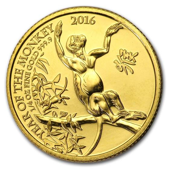 2016 Great Britain 1/4 oz Gold Year of the Monkey BU