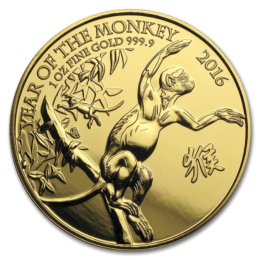 2016 Great Britain 1 oz Gold Year of the Monkey BU