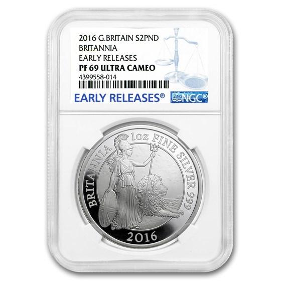 2016 Great Britain 1 oz Proof Silver Britannia PF-69 NGC (ER)