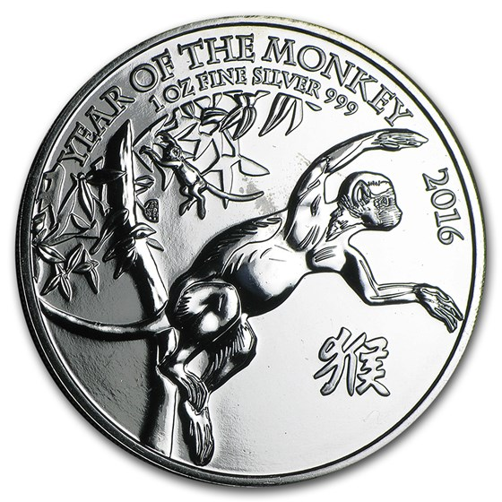 2016 Great Britain 1 oz Silver Year of the Monkey (Abrasions)