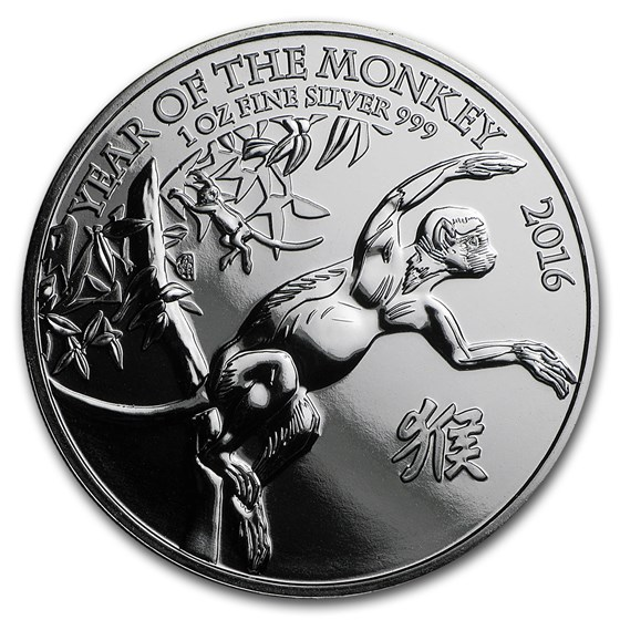 2016 Great Britain 1 oz Silver Year of the Monkey BU