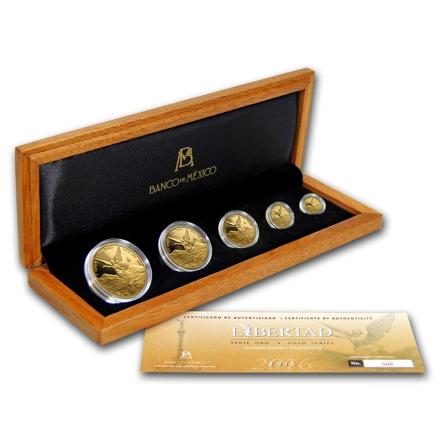 2016 Mexico 5-Coin Gold Libertad Proof Set (1.9 oz, Wood Box)