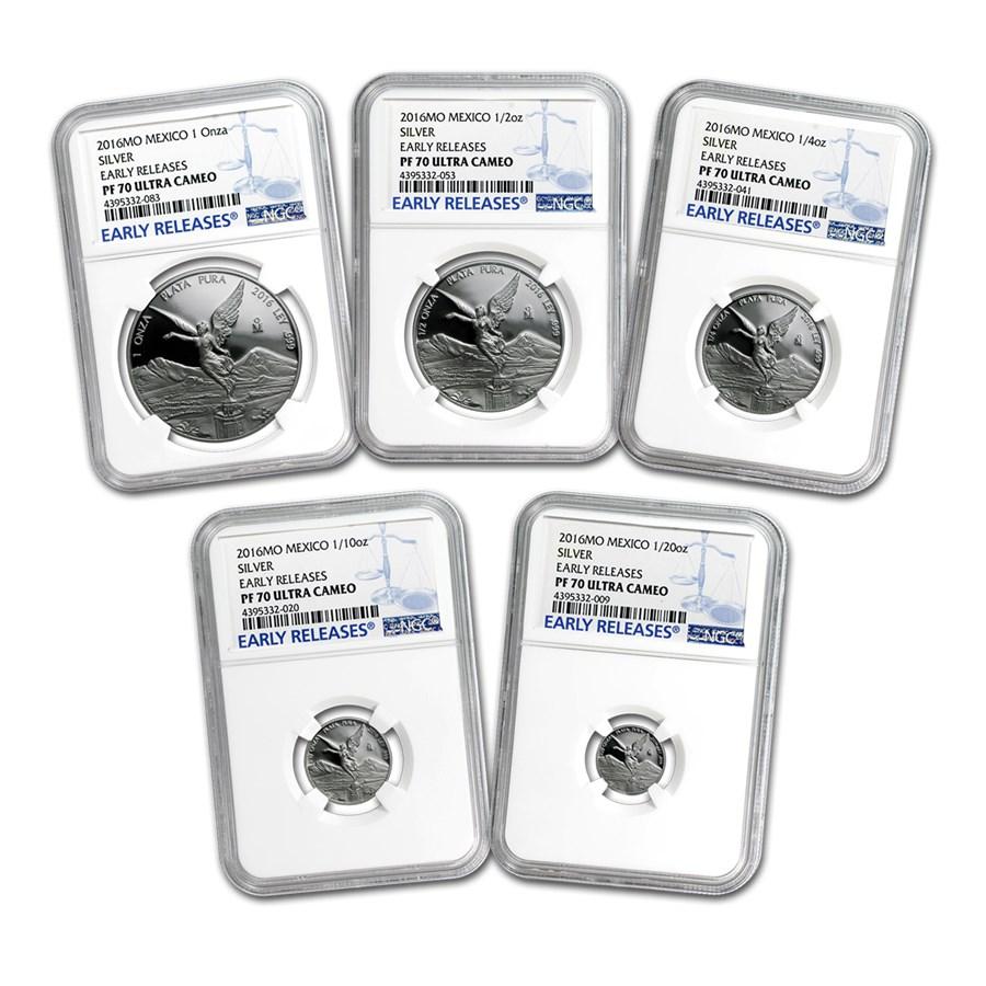 2016 Mexico 5-Coin Silver Libertad Prf Set PF-70 NGC (ER, 1.9 oz)