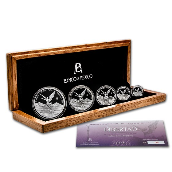 2016 Mexico 5-Coin Silver Libertad Proof Set (1.9 oz, Wood Box)