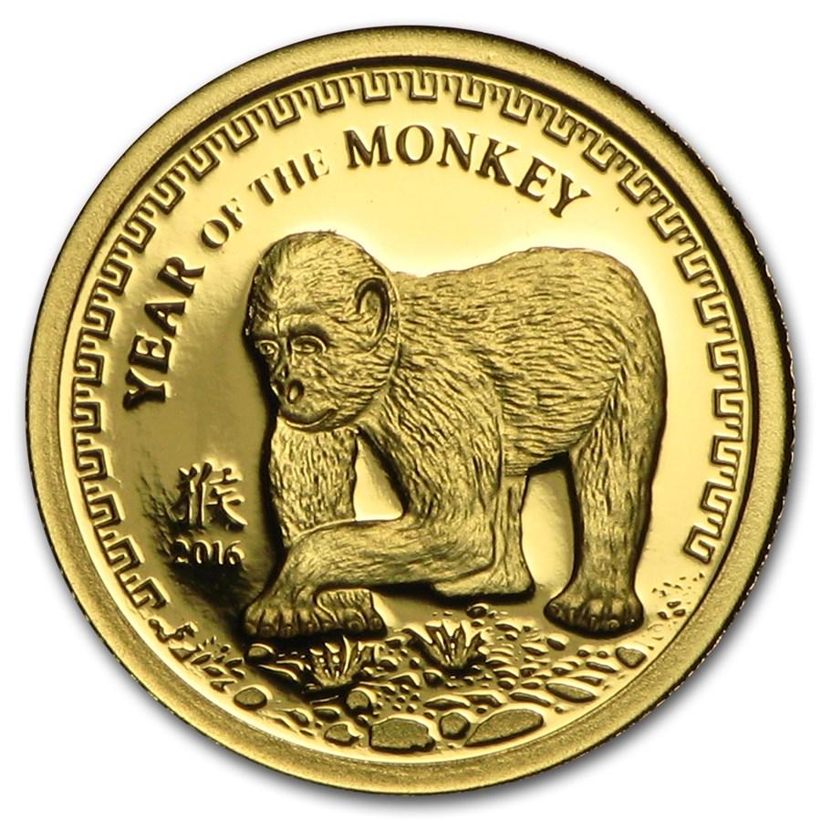 2016 Mongolia 1/2 gram Prf Gold 1,000 Togrog Year of the Monkey