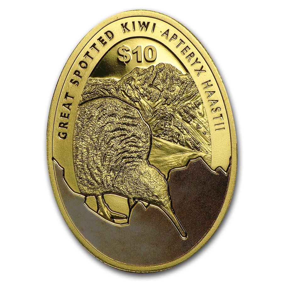 2016 New Zealand 1/4 oz Proof Gold $10 Kiwi Egg-Shaped Proof Coin