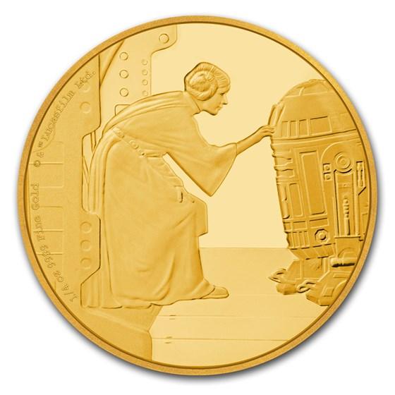 2016 Niue 1/4 oz Gold $25 Star Wars Princess Leia Prf (Box & COA)