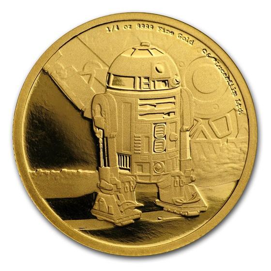 2016 Niue 1/4 oz Gold $25 Star Wars R2-D2 Proof (Box & COA)