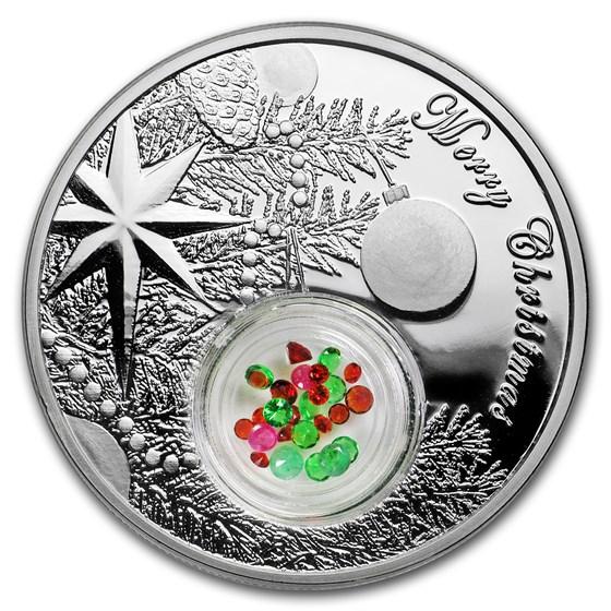 2016 Niue 1 oz Silver $2 Christmas Tree Jeweled Ball (w/Filigree)