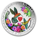 2016 Niue 1 oz Silver $2 Love is Precious Hummingbirds