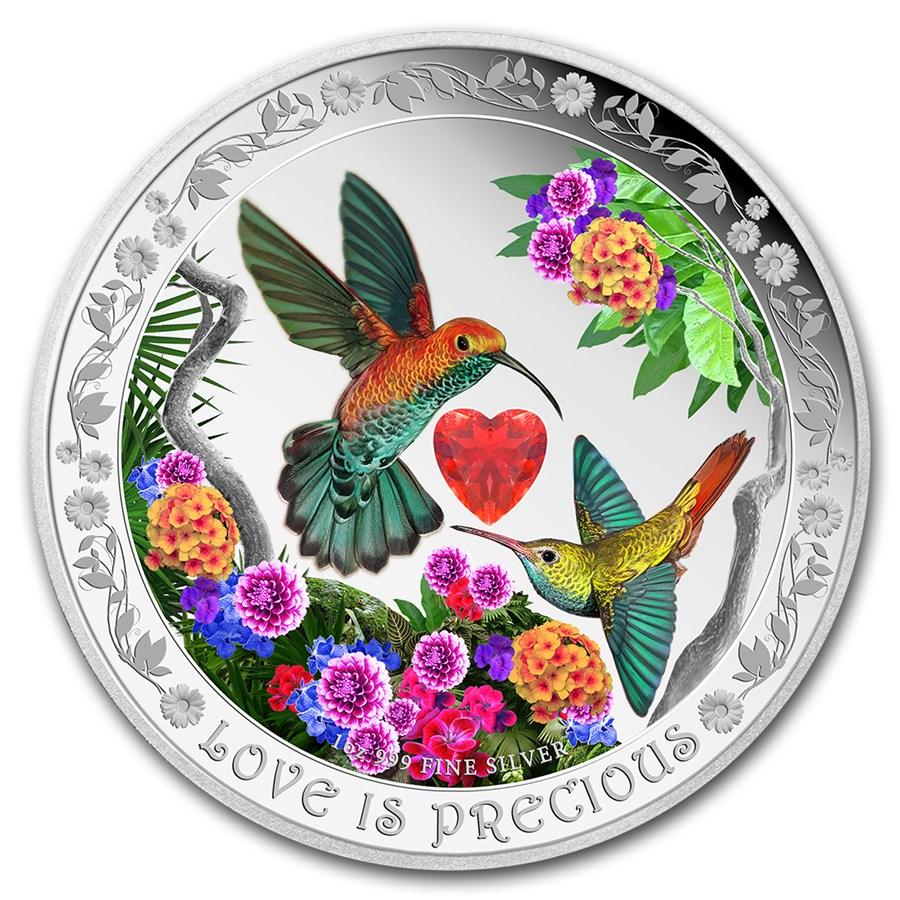2016 Niue 1 oz Silver $2 Love is Precious Hummingbirds