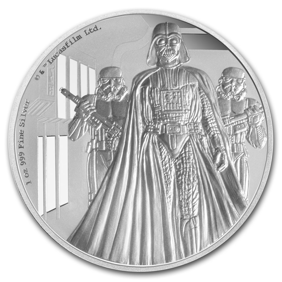 2016 Niue 1 oz Silver $2 Star Wars Darth Vader (w/Box & COA)