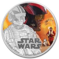2016 Niue 1 oz Silver $2 Star Wars Poe Dameron (w/Box & COA)
