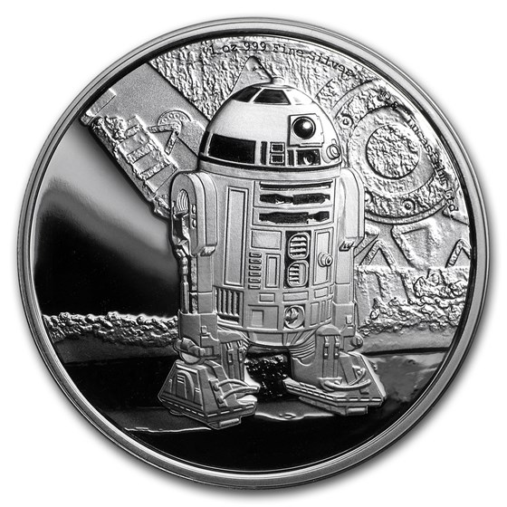 2016 Niue 1 oz Silver $2 Star Wars R2-D2 (w/Box & COA)