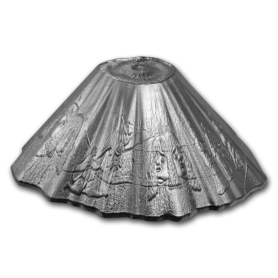2016 Niue 6 oz Silver Volcano Shaped Coin: Vesuvius Pompeii (Dmg)
