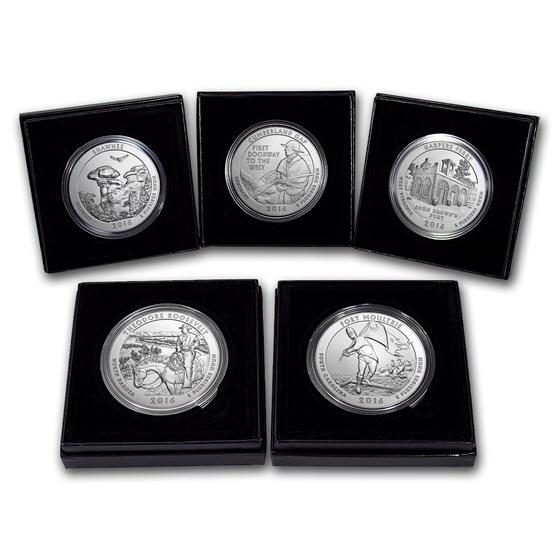 2016-P 5-Coin 5 oz Silver Burnished ATB Set (w/Box & COA)