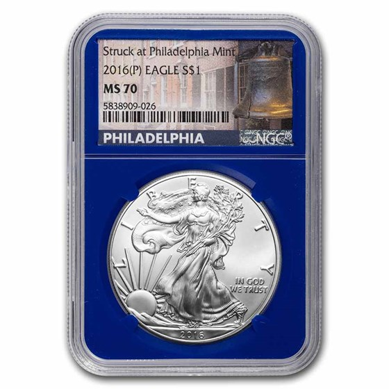 2016 (P) American Silver Eagle MS-70 NGC (Liberty Bell Label)