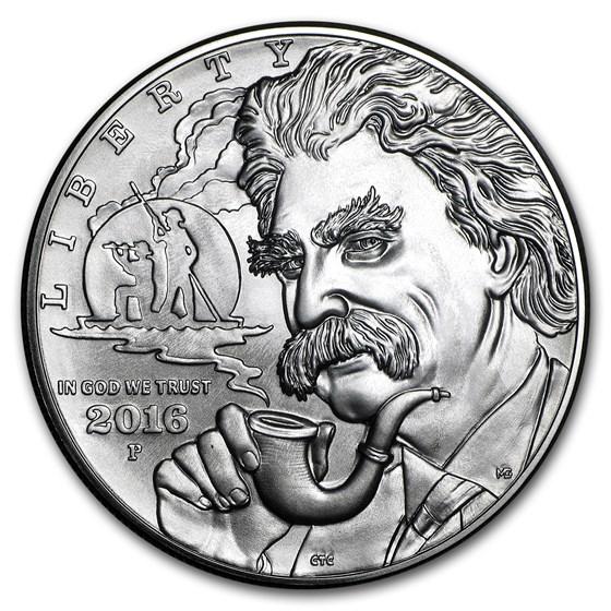 2016-P Mark Twain $1 Silver Commem BU (w/Box & COA)