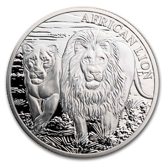 2016 Republic of Congo 5000 Francs 1 oz Silver African Lion Proof