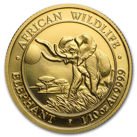 2016 Somalia 1/10 oz Gold African Elephant BU