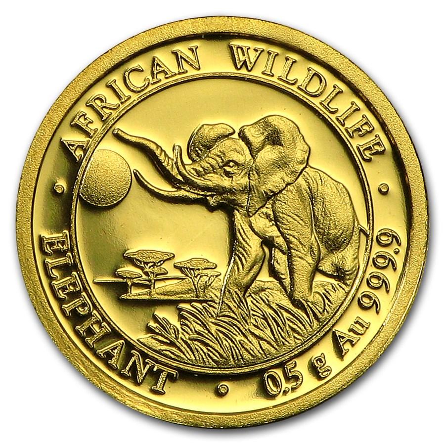 2016 Somalia 1/2 gram Gold African Elephant BU