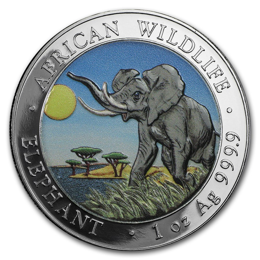 2016 Somalia 1 oz Silver Elephant (Colorized)