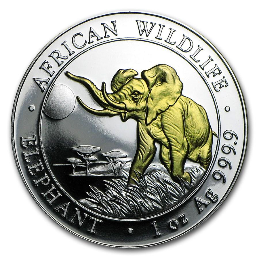 2016 Somalia 1 oz Silver Elephant (Gilded)