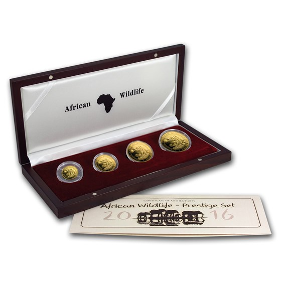 2016 Somalia 4-Coin Gold African Elephant Prestige Proof Set