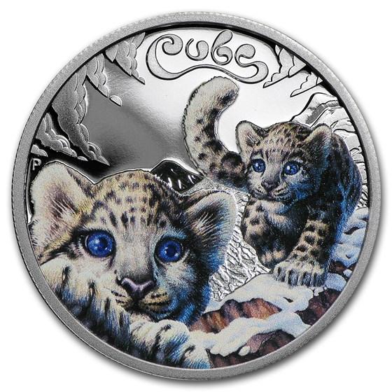 2016 Tuvalu 1/2 oz Silver Snow Leopard Cubs Proof