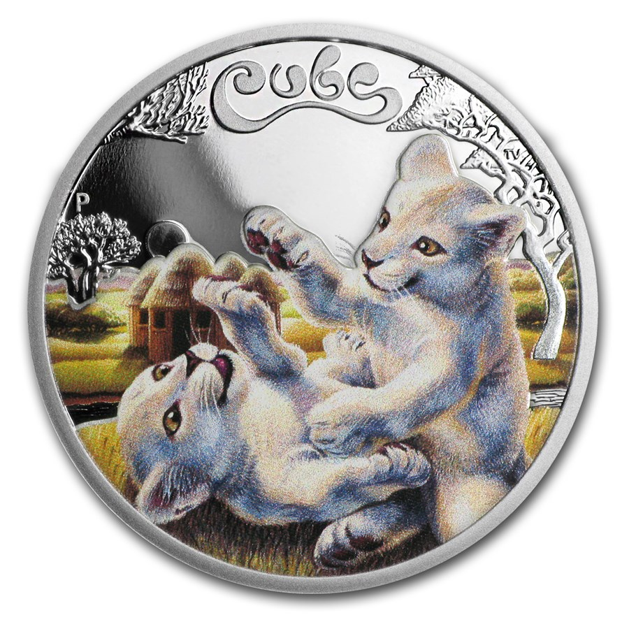 2016 Tuvalu 1/2 oz Silver White Lion Cubs Proof