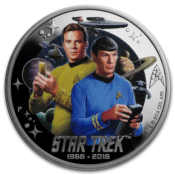 2016 Tuvalu 1 oz Silver Star Trek Colored Proof (Kirk and Spock)