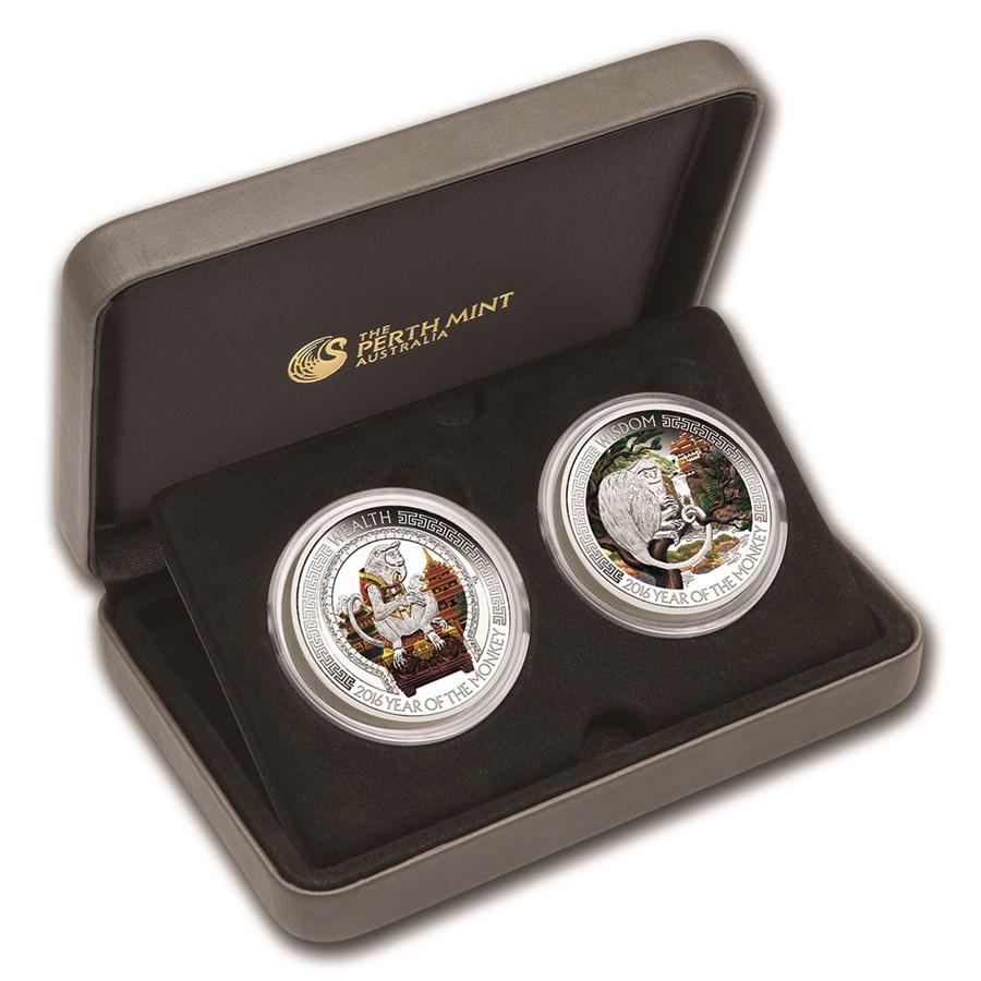 2016 Tuvalu 2-Coin 1 oz Silver Lunar Good Fortune Proof Set