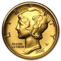 2016-W 1/10 oz Gold Mercury Dime Centennial (w/OGP)