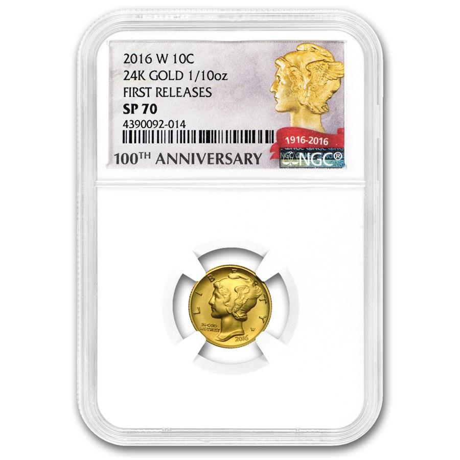 2016-W 1/10 oz Gold Mercury Dime SP-70 NGC