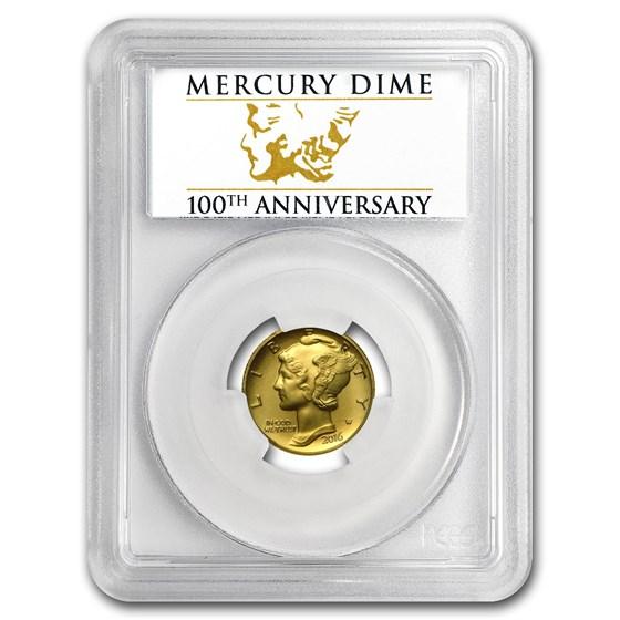 2016-W 1/10 oz Gold Mercury Dime SP-70 PCGS (FS, Cent'l Label)