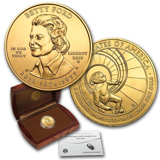 2016-W 1/2 oz Gold Betty Ford BU (w/Box & COA)