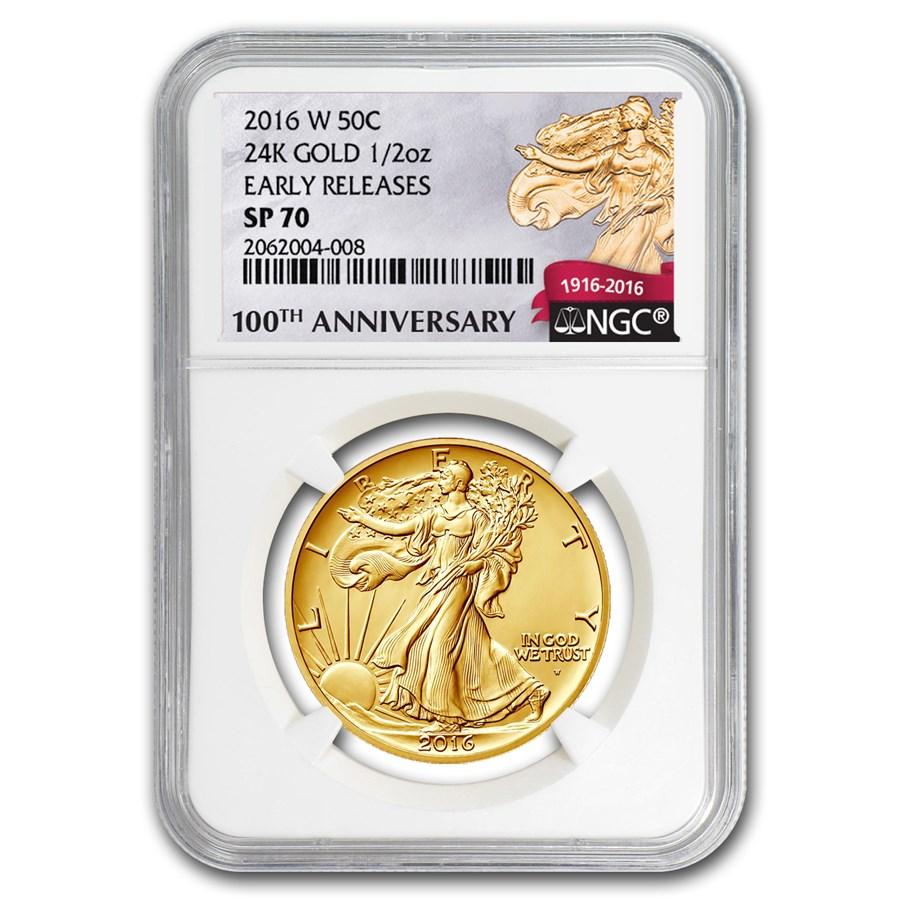 2016-W 1/2 oz Gold Walking Liberty Half Dollar SP-70 NGC (ER/FR)
