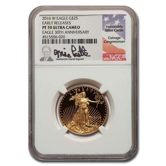 2016-W 1/2 oz Proof American Gold Eagle PF-70 NGC (ER, Castle)
