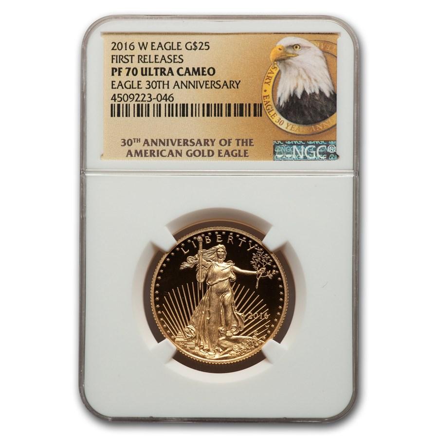 2016-W 1/2 oz Proof American Gold Eagle PF-70 NGC (FR)