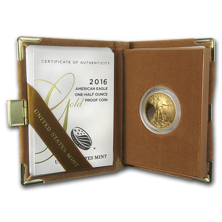 2016-W 1/2 oz Proof American Gold Eagle (w/Box & COA)