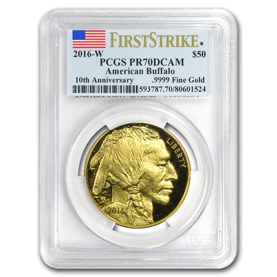 2016-W 1 oz Proof Gold Buffalo PR-70 PCGS (FS, Flag Label)