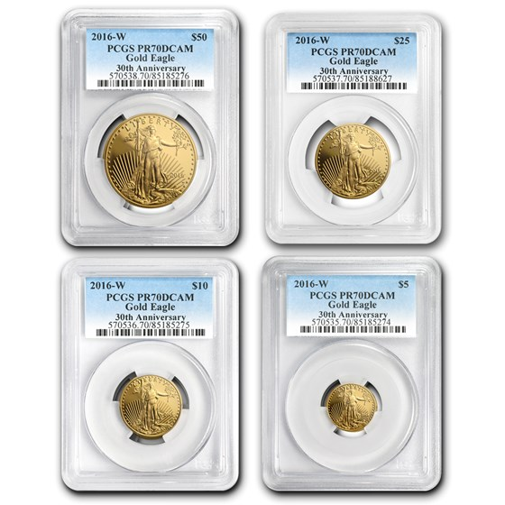 2016-W 4-Coin Proof Gold American Eagle Set PR-70 PCGS