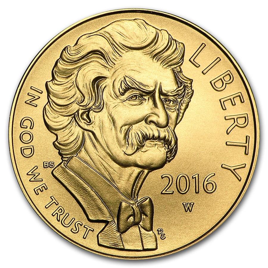 2016-W Gold $5 Commem Mark Twain BU (w/Box & COA)