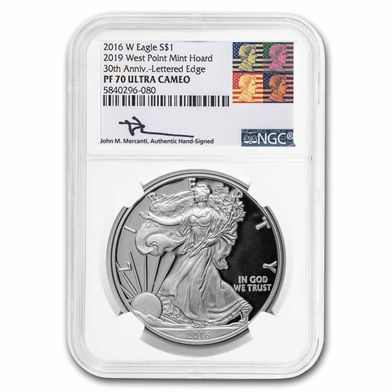 2016-W Proof Silver Eagle PF-70 NGC (West Point Hoard, Mercanti)