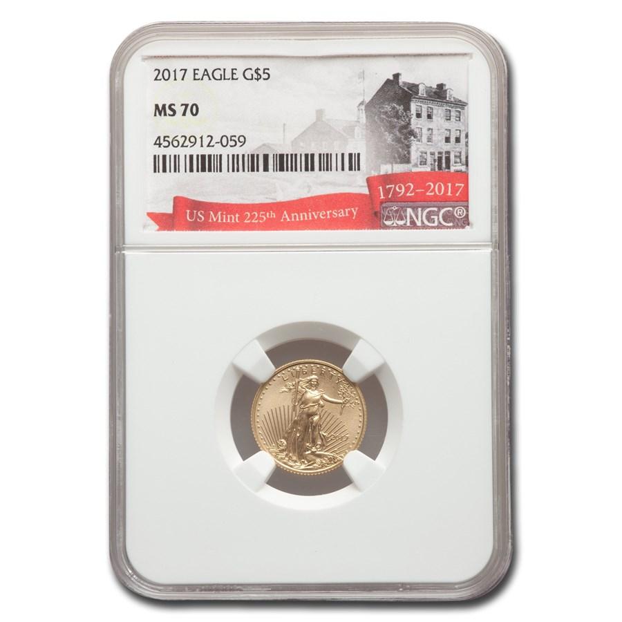 2017 1/10 oz American Gold Eagle MS-70 NGC